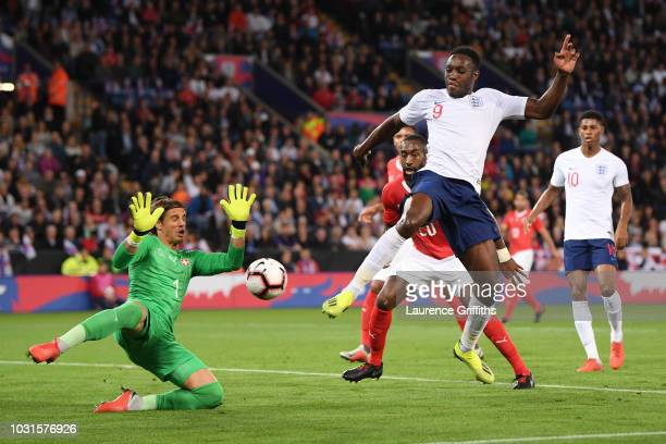 Danny Welbeck of England is blocked by Yann Sommer of Switzerland during the international friendly match between England and Switzerland at The King...