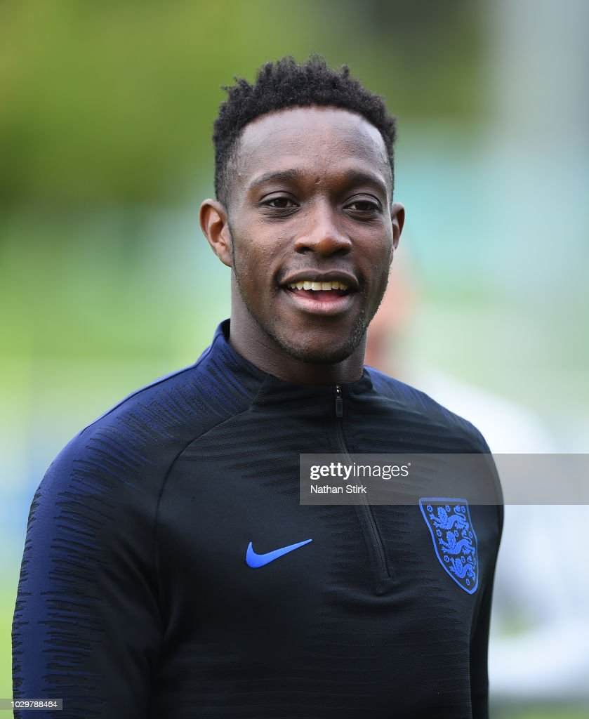 Danny Welbeck of England looks on during a England training session at St Georges Park on September 9, 2018 in Burton-upon-Trent, England.