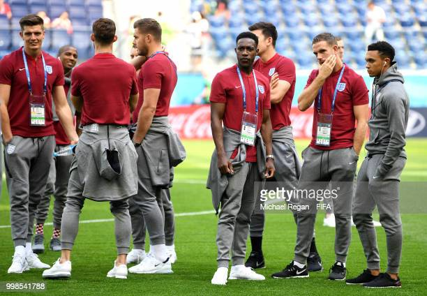 Danny Welbeck of England looks on during a pitch inspection prior to the 2018 FIFA World Cup Russia 3rd Place Playoff match between Belgium and...