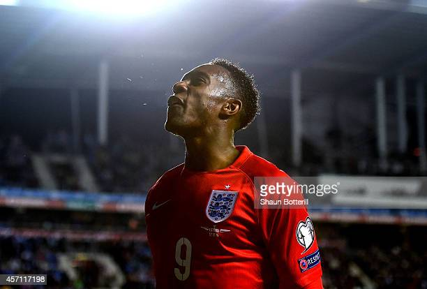 Danny Welbeck of England reacts during the EURO 2016 Qualifier match between Estonia and England at A Le Coq Arena on October 12 2014 in Tallinn...