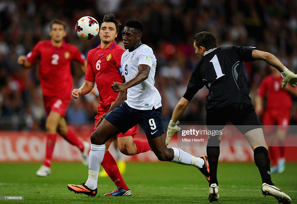 Danny Welbeck of England runs through on goal to score their third goal during the FIFA 2014 World Cup Qualifying Group H match between England and Moldova at Wembley Stadium on September 6, 2013 in London, England.