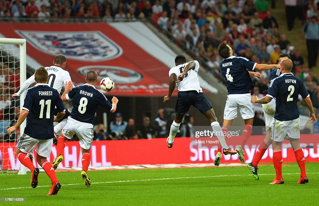 Danny Welbeck of England (C) scores a goal during the International Friendly match between England and Scotland at Wembley Stadium on August 14, 2013 in London, England.