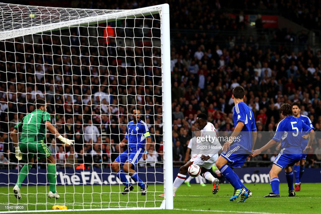 Danny Welbeck of England scores his team's second goal during the FIFA 2014 World Cup Group H qualifying match between England and San Marino at Wembley Stadium on October 12, 2012 in London, England.
