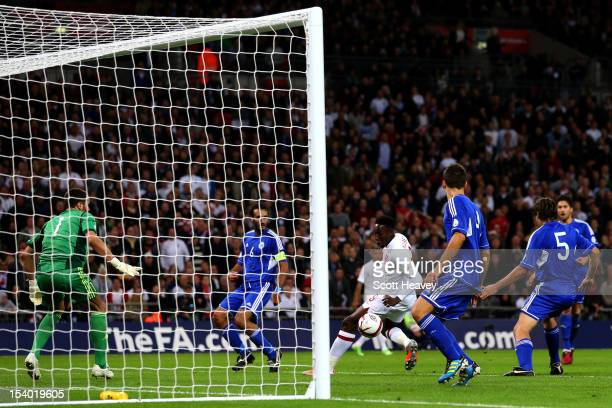 Danny Welbeck of England scores his team's second goal during the FIFA 2014 World Cup Group H qualifying match between England and San Marino at...