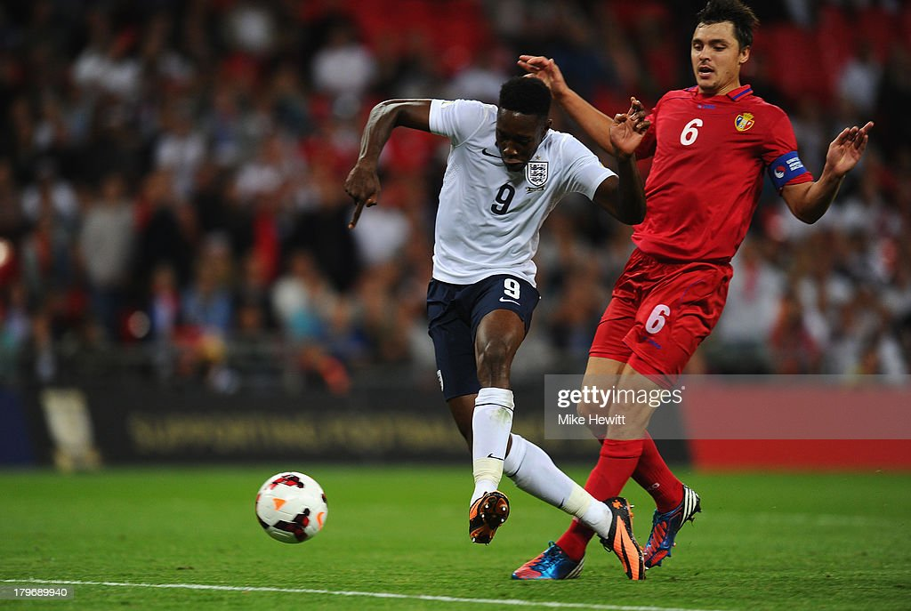 Danny Welbeck of England scores their third goal during the FIFA 2014 World Cup Qualifying Group H match between England and Moldova at Wembley Stadium on September 6, 2013 in London, England.