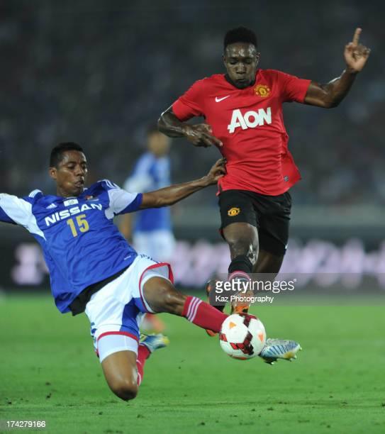 Danny Welbeck of Manchester United and Fabio of Yokohama FMarinos fight for the ball during the preseason freindly match between Yokohama FMarinos...