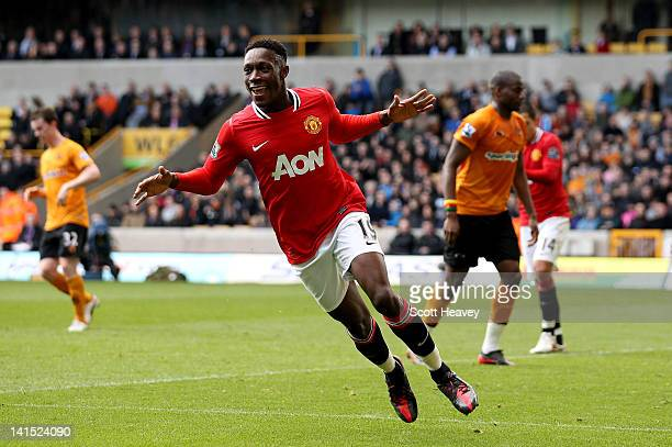 Danny Welbeck of Manchester United celebrates after scoring their third goal during the Barclays Premier League Match between Wolverhampton Wanderers...