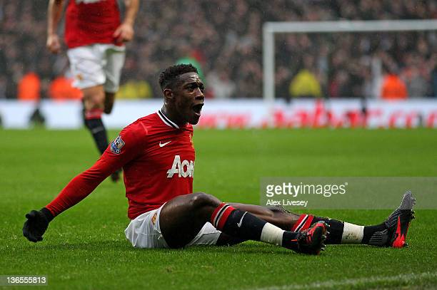Danny Welbeck of Manchester United celebrates scoring his team's second goal during the FA Cup Third Round match between Manchester City and...
