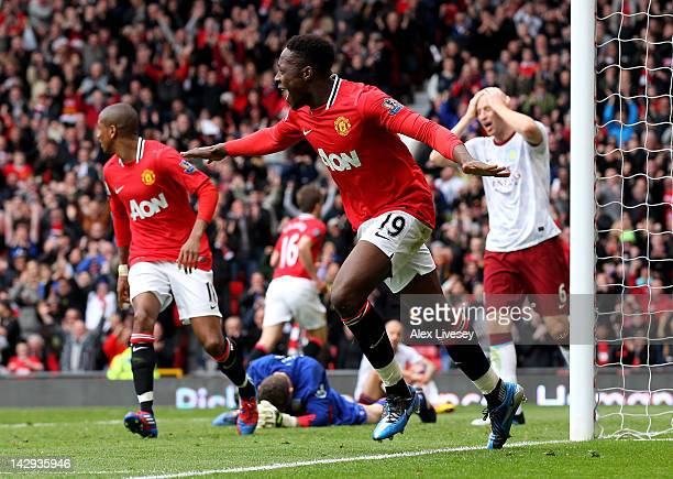 Danny Welbeck of Manchester United celebrates scoring his team's second goal during the Barclays Premier League match between Manchester United and...