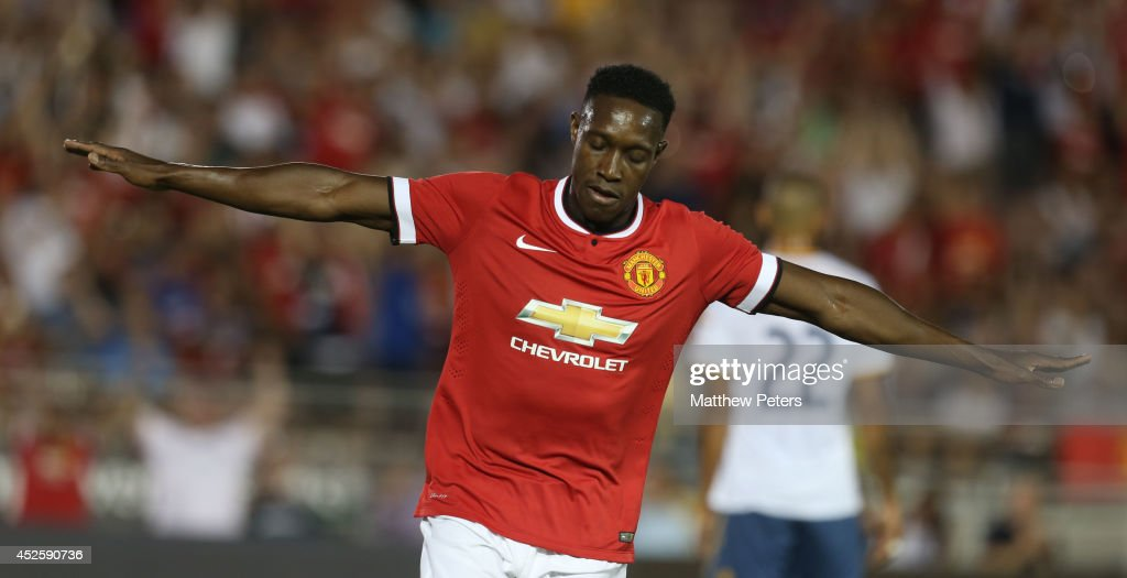 Danny Welbeck of Manchester United celebrates scoring their first goal during the pre-season friendly match between Los Angeles Galaxy and Manchester United at Rose Bowl on July 23, 2014 in Pasadena, California.