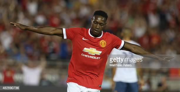 Danny Welbeck of Manchester United celebrates scoring their first goal during the preseason friendly match between Los Angeles Galaxy and Manchester...