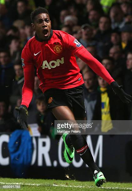 Danny Welbeck of Manchester United celebrates scoring their first goal during the Barclays Premier League matche between Norwich City and Manchester...