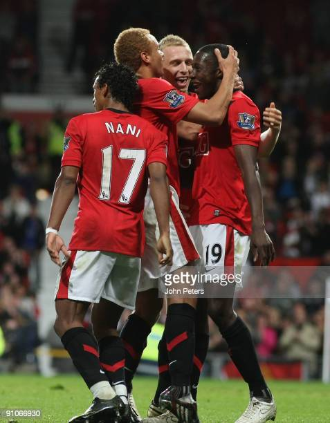 Danny Welbeck of Manchester United celebrates scoring their first goal during the Carling Cup Third Round match between Manchester United and...