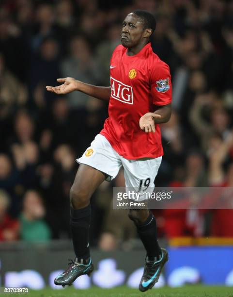 Danny Welbeck of Manchester United celebrates scoring their fourth goal during the Barclays Premier League match between Manchester United and Stoke...