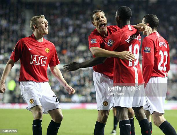 Danny Welbeck of Manchester United celebrates scoring their fourth goal during the FA Cup sponsored by eon Fifth Round match between Derby County and...