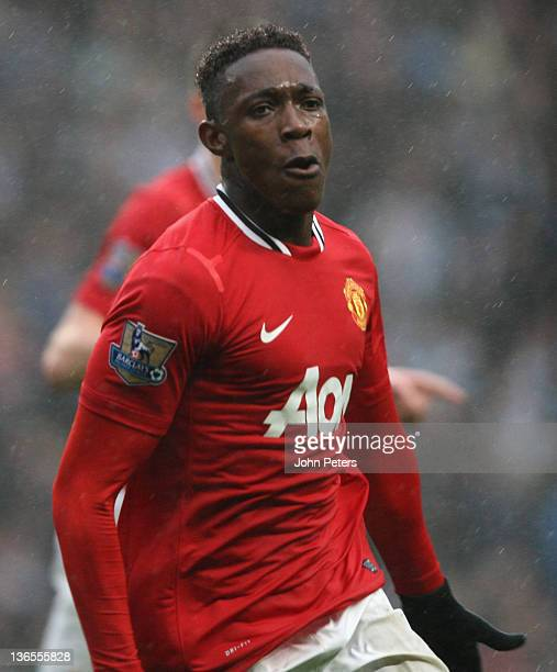 Danny Welbeck of Manchester United celebrates scoring their second goal during the FA Cup Third Round match between Manchester City and Manchester...