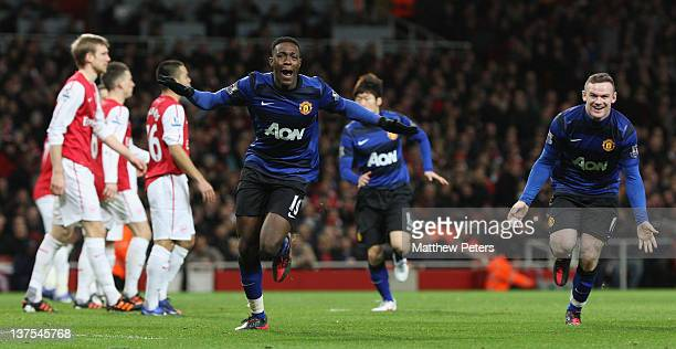 Danny Welbeck of Manchester United celebrates scoring their second goall during the Barclays Premier League match between Arsenal and Manchester...