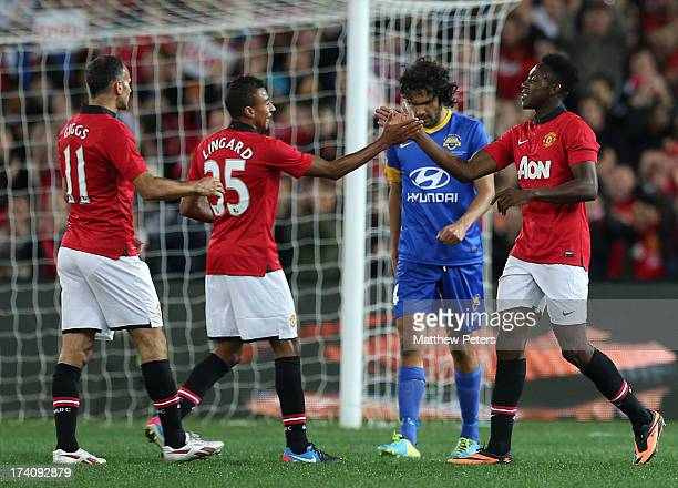 Danny Welbeck of Manchester United celebrates scoring their second goal during the match between the ALeague AllStars and Manchester United at ANZ...