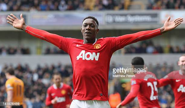 Danny Welbeck of Manchester United celebrates scoring their third goal during the Barclays Premier League match between Wolverhampton Wanderers and...