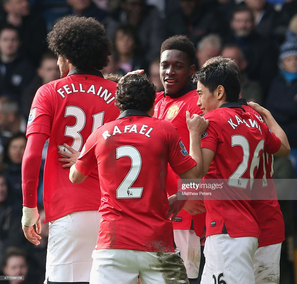 Danny Welbeck (C) of Manchester United celebrates scoring their third goalgoal during the Barclays Premier League match between West Bromwich Albion and Manchester United at The Hawthorns on March 8, 2014 in West Bromwich, England.