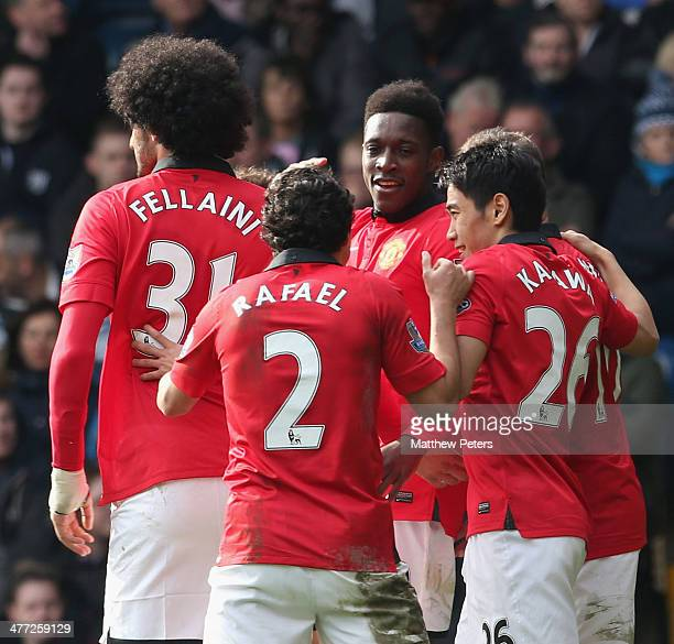 Danny Welbeck of Manchester United celebrates scoring their third goalgoal during the Barclays Premier League match between West Bromwich Albion and...