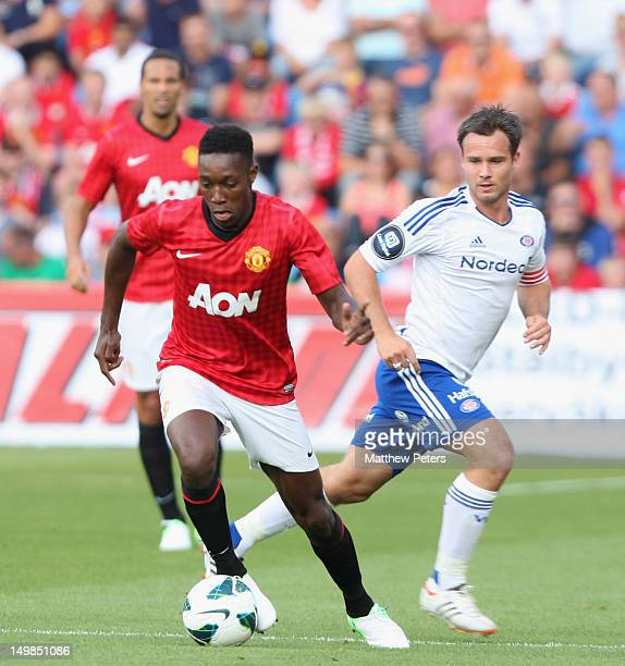 Danny Welbeck of Manchester United clashes with Kristopher Haestad of Valerenga FC during the preseason match between Valerenga FC and Manchester...