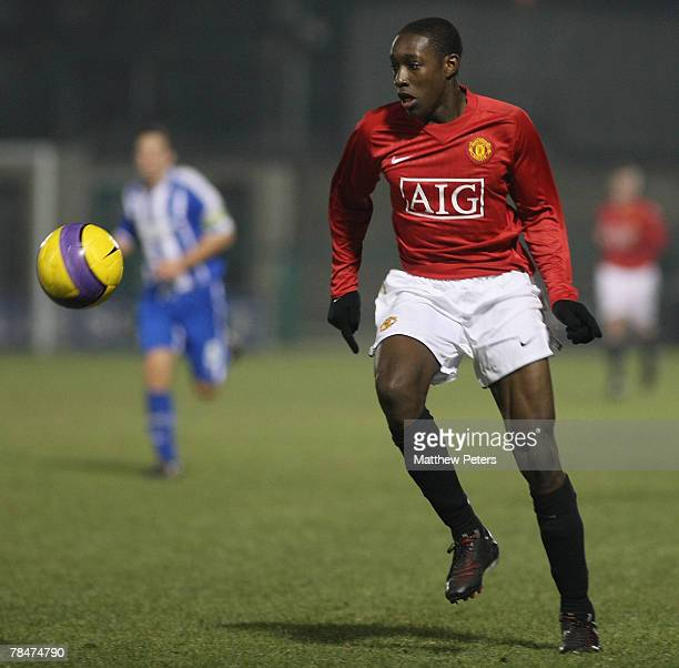 Danny Welbeck of Manchester United in action during the FA Youth Cup match against Brighton and Hove Albion on December 13 2007 at Victoria Stadium...
