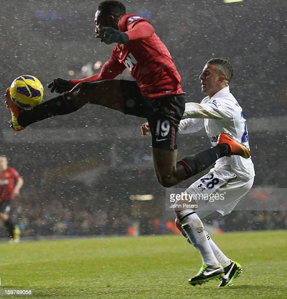 Danny Welbeck of Manchester United in action with Kyle Walker of Tottenham Hotspur during the Barclays Premier League match between Tottenham Hotspur...