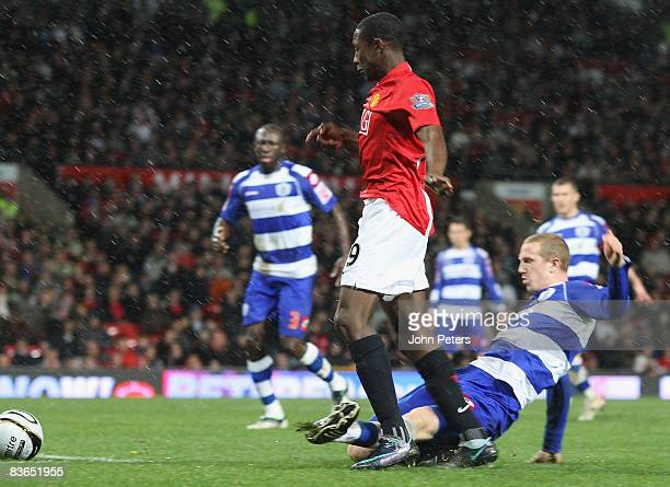 Danny Welbeck of Manchester United is fouled by Peter Ramage of Queens Park Rangers for a penalty during the Carling Cup Fourth Round match between...