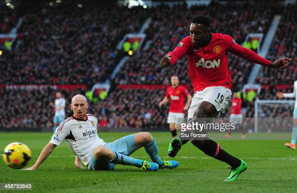 Danny Welbeck of Manchester United scores the opening goal during the Barclays Premier League match between Manchester United and West Ham United at...
