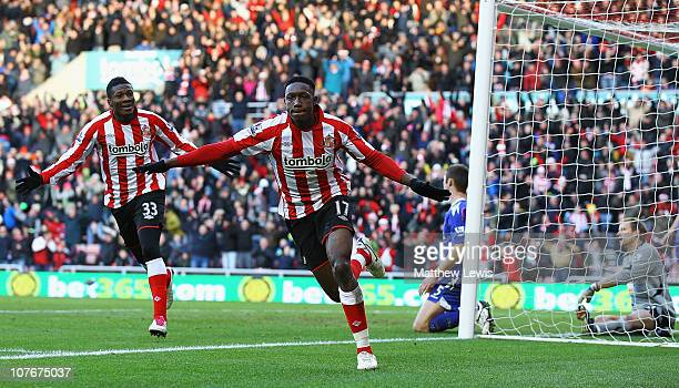 Danny Welbeck of Sunderland celebrates his goal during the Barclays Premier League match between Sunderland and Bolton Wanderers at Stadium of Light...