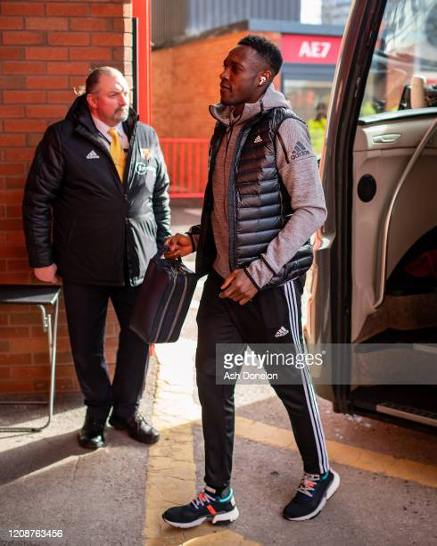 Danny Welbeck of Watford arrives ahead of the Premier League match between Manchester United and Watford FC at Old Trafford on February 23 2020 in...