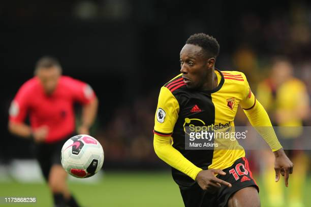 Danny Welbeck of Watford during the Premier League match between Watford FC and Sheffield United at Vicarage Road on October 5, 2019 in Watford,...