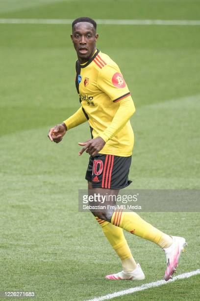 Danny Welbeck of Watford FC looks on during the Premier League match between Watford FC and Newcastle United at Vicarage Road on July 11 2020 in...