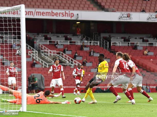 Danny Welbeck of Watford scores his sides second goal during the Premier League match between Arsenal FC and Watford FC at Emirates Stadium on July...