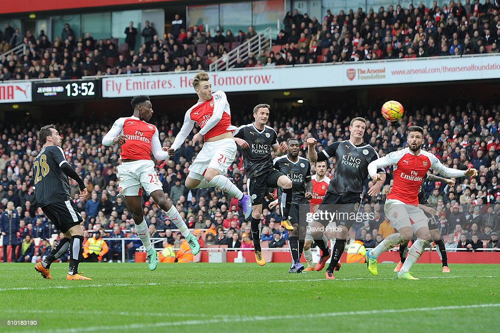 Danny Welbeck (far left) scores Arsenal's 2nd goal during the Barclays Premier League match between Arsenal and Leicester City at Emirates Stadium on February 14th, 2016 in London, England
