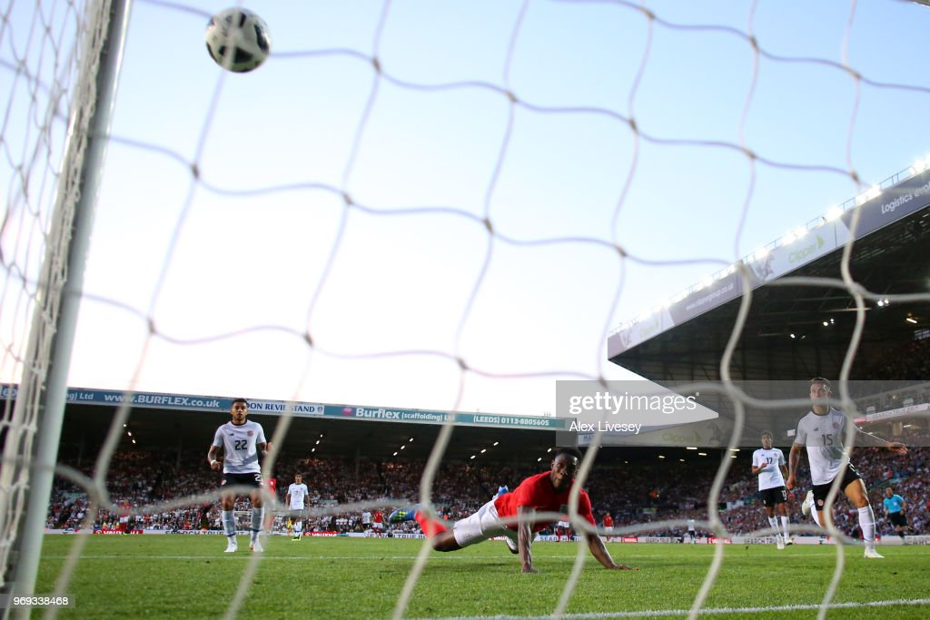 Danny Welbeck scores his sides second goal during the International Friendly match between England and Costa Rica at Elland Road on June 7, 2018 in Leeds, England.