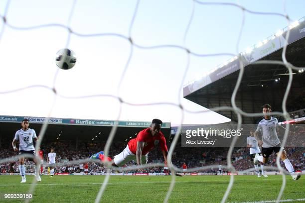 Danny Welbeck scores his sides second goal during the International Friendly match between England and Costa Rica at Elland Road on June 7 2018 in...
