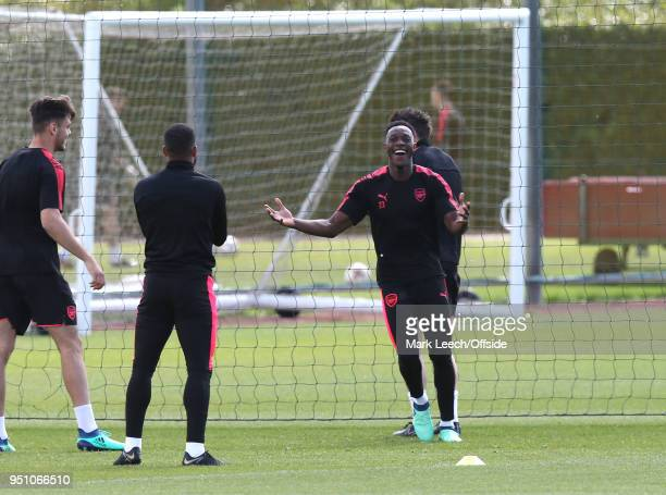 Danny Welbeck smiling in a warm up exercise during Arsenal Training at London Colney on April 25 2018 in St Albans England