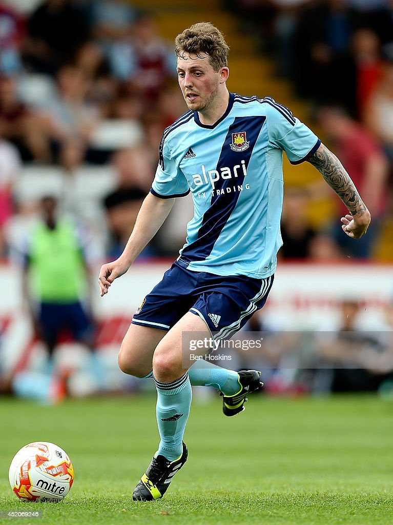 Danny Whitehead of West Ham in action during the Pre Season Friendly match between Stevenage and West Ham United at The Lamex Stadium on July 12, 2014 in Stevenage, England.