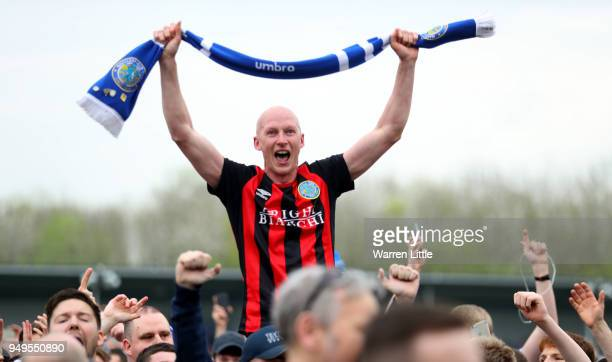 Danny Whittaker of Macclesfield Town celebrates after the Vanarama National League match between Eastleigh and Macclesfield Town at Silverlake...