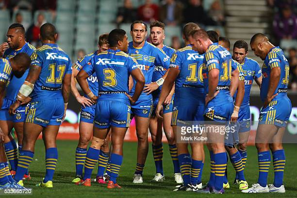 Danny Wicks of the Eels and his team mates looks dejected after a Storm try during the round 11 NRL match between the Parramatta Eels and the...