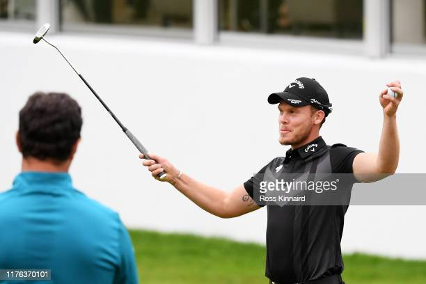 Danny Willett of England celebrates winning the BMW PGA Championship at Wentworth Golf Club on September 22, 2019 in Virginia Water, United Kingdom.