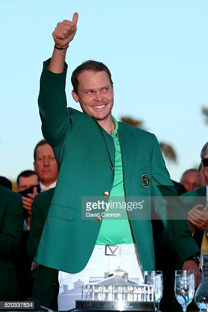 Danny Willett of England celebrates with the green jacket after winning the 2016 Masters Tournament at Augusta National Golf Club on April 10 2016 in...
