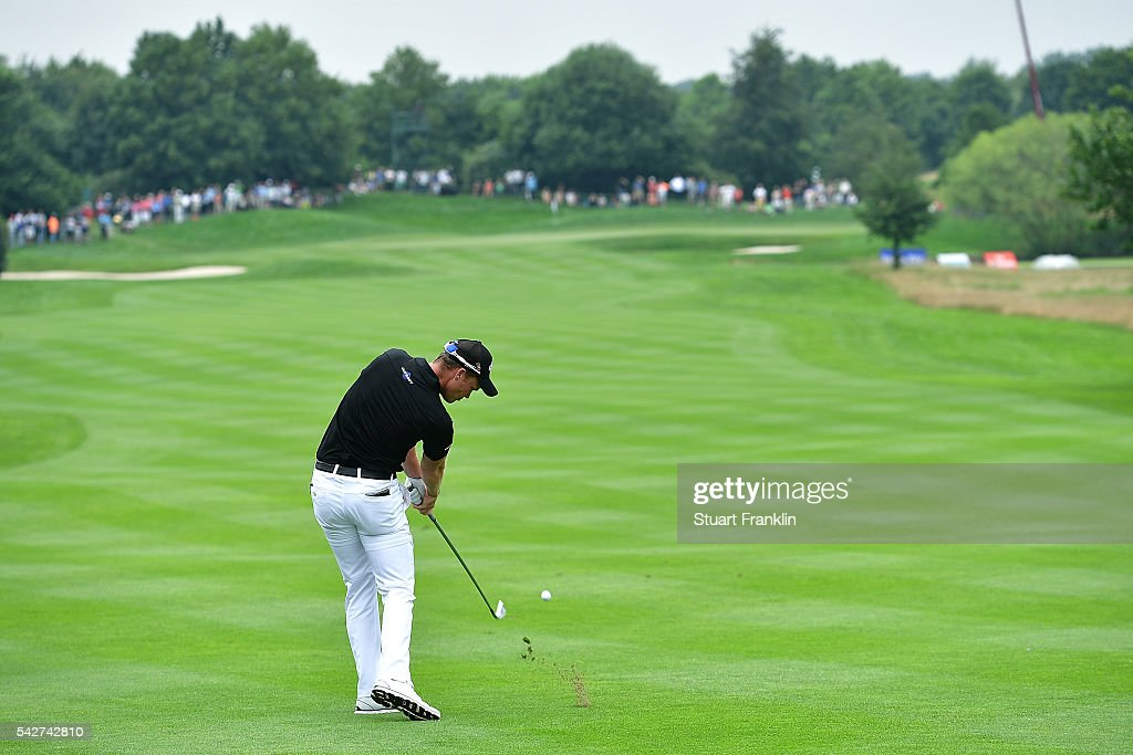 Danny WIllett of England hits an approach shot during the second round of the BMW International Open at Gut Larchenhof on June 24, 2016 in Cologne, Germany.