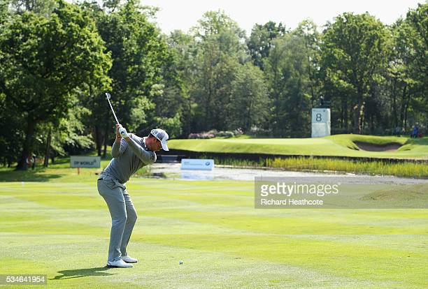 Danny Willett of England hits his 2nd shot on the 8th hole during day two of the BMW PGA Championship at Wentworth on May 27 2016 in Virginia Water...