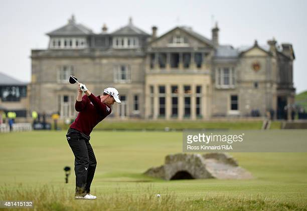Danny Willett of England hits his tee shot on the 18th hole during the final round of the 144th Open Championship at The Old Course on July 20, 2015...