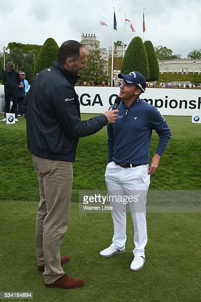 Danny Willett of England is interviewed on the first tee by Martin Bayfield during the ProAm prior to the BMW PGA Championship at Wentworth on May 25...