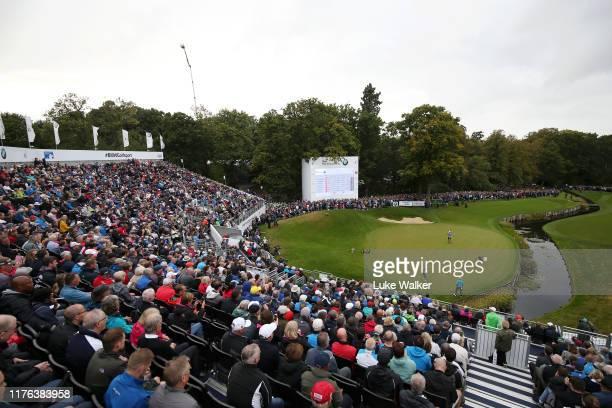 Danny Willett of England lines up a putt on the 18th hole during Day Four of the BMW PGA Championship at Wentworth Golf Club on September 22 2019 in...