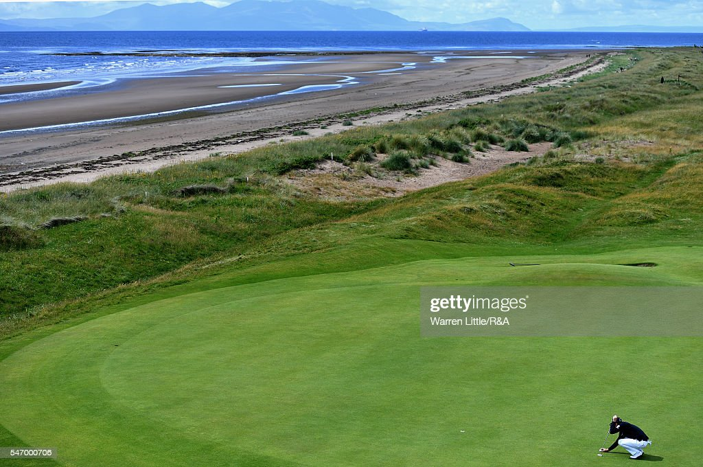 Danny Willett of England lines up a putt on the 5th green during previews to the 145th Open Championship at Royal Troon on July 13, 2016 in Troon, Scotland.